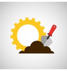 gear construction shovel spatula tool vector image