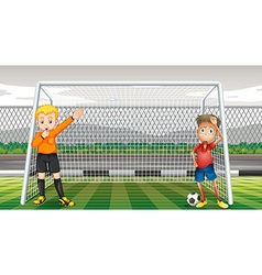 Goalkeeper and referee in the field vector