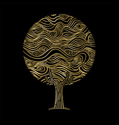 gold hand drawn tree concept vector image