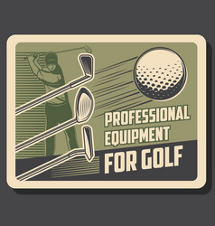 golf sport retro poster player with club vector image