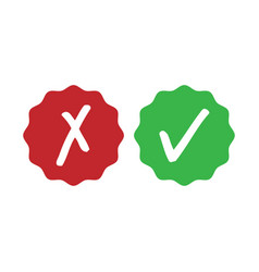 Green check mark and red cross - isolated vector