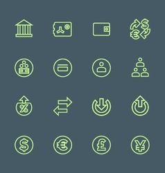 green outline various financial banking icons set vector image