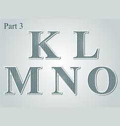 Guilloche letters KLMNO vector