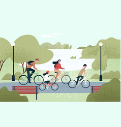happy family riding bicycles joyful mother vector image