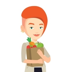 Happy woman holding grocery shopping bag vector