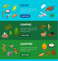 hiking in a park concept banner horizontal set 3d vector image