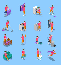 housewife isometric icons set vector image