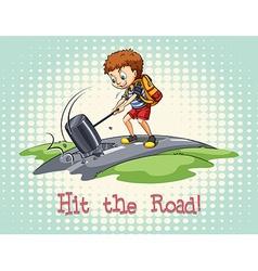 Idiom hit road vector