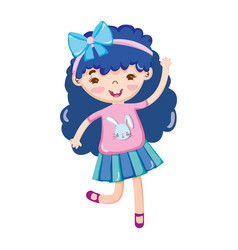 little girl blue hair with bow in head isolated vector image