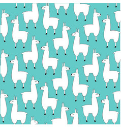 llama pattern on blue vector image
