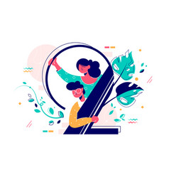 Man and woman looking out number two vector