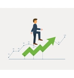 Man in suit running on a growing chart curve arrow vector image