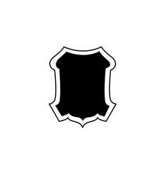 medieval knight shield emblem or badge - black vector image