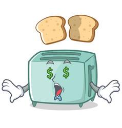 money eye toaster character cartoon style vector image