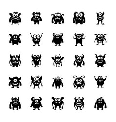 Monster characters icons vector