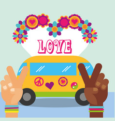 Multiracial hands van flower love hippie free vector
