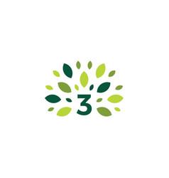 number 3 three tree leaf nature mark green logo vector image