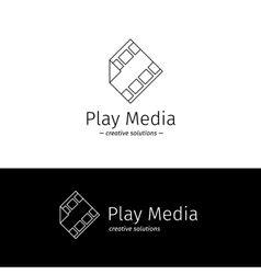 outline film logo with play sign Media vector image