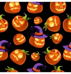pattern halloween pumpkins in witches hat vector image