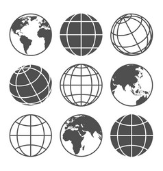 Planet map globe icons vector
