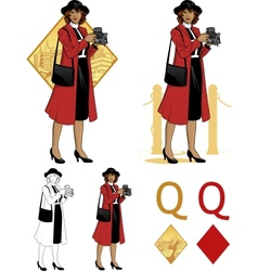 Queen of diamonds afroamerican woman photographer vector image