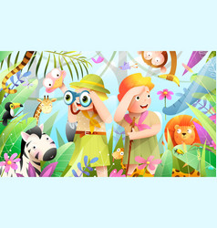 Scout boy and girl jungle adventure with animals vector