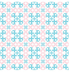 seamless flowers baby pink and blue pattern vector image
