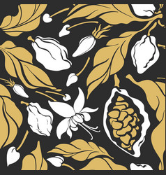 seamless pattern cocoa flower leaves fruit bean vector image