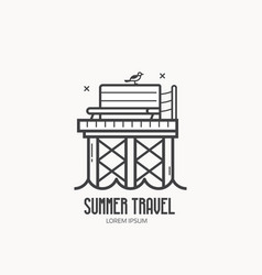 seaside summer travel logotype vector image