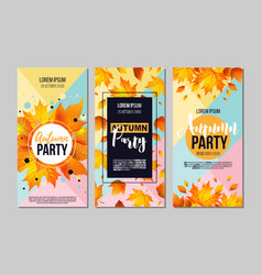 set autumn party flyer template with lettering vector image