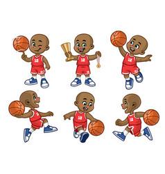 Set cartoon african little boy basketball vector