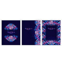 set of neon card with night stylized flower rose vector image