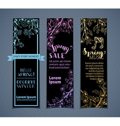 Set of vertical spring banners vector