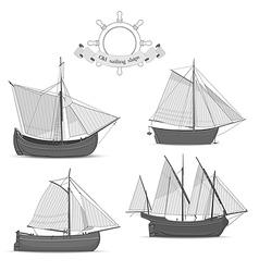 set old sailing ships vector image