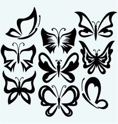Set symbol butterflies vector