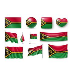 set vanuatu realistic flags banners banners vector image