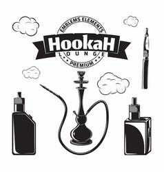 set vintage hookak and vape icons vector image