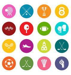 sport equipment icons many colors set vector image