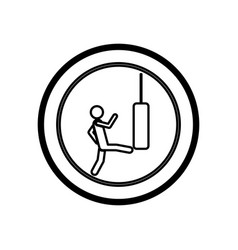 Symbol person kicking a punching bag vector
