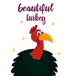 thanksgiving card with cute turkey vector image