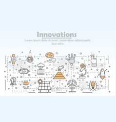 thin line art innovations poster banner vector image