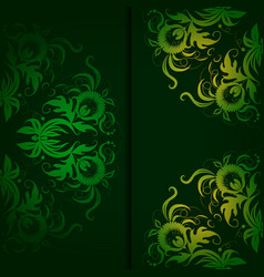Vintage pattern on a dark green background vector image