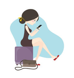 Woman sitting and playing smartphone vector image