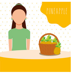 woman with wicker basket filled fruit pineapple vector image