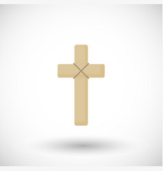 wooden cross flat icon vector image