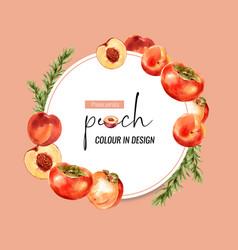 Wreath design with peach and plum creative vector