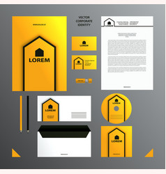yellow and black branding set vector image