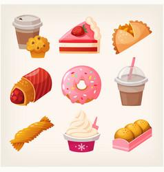 fast food dessert goods vector image vector image