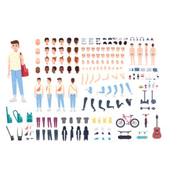 teenager character constructor boy creation set vector image vector image