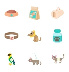 Veterinary animals icons set cartoon style vector image vector image